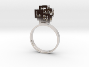 Quadro Ring - US 6 in Rhodium Plated Brass