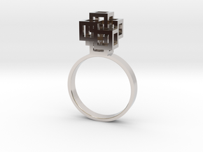 Quadro Ring - US 8 in Rhodium Plated Brass