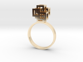 Quadro Ring - US 8 in 14k Gold Plated Brass