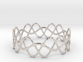 Braided Wave Bracelet (67mm) in Rhodium Plated Brass