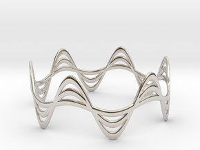 Triple Wave Bracelet (67mm) in Rhodium Plated Brass