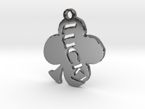 Lucky Saint Patrick's Day 4 Leaf Clover Pendant in Polished Silver