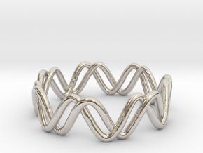 Sine + Cosine Ring (Size 7) in Rhodium Plated Brass