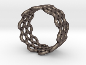 Dots Ring (Size 7) in Polished Bronzed Silver Steel