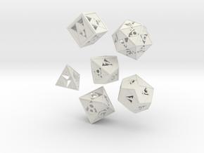 Triforce dice 6 piece set in White Natural Versatile Plastic