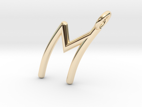 M in 14k Gold Plated Brass
