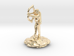 Gnome Bard with Lute and Shortbow in 14k Gold Plated Brass