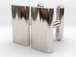 Schwarz cushion cufflinks in Rhodium Plated Brass