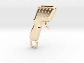 Slot Car Controller Keychain in 14k Gold Plated Brass