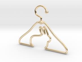 Rabbit Hanger Pendant in 14k Gold Plated Brass