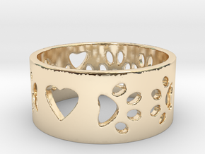 I Love My Dog Ring Ring Size 7 in 14K Yellow Gold