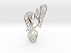 Openwork phoenix Pendant in Rhodium Plated Brass
