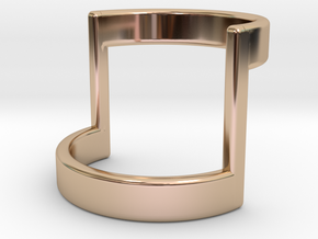 Minimal Half Bar Band  in 14k Rose Gold Plated Brass