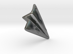 Paper Airplane Pendant in Polished Silver
