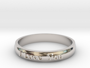 "Ring 'I Love You' - 16.5cm / 0.65"" - Size 6 in Rhodium Plated Brass"
