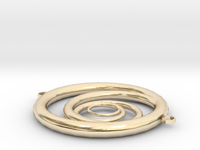 Orbiting Circle Pendant Double Loop in 14k Gold Plated Brass