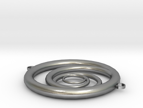 Orbiting Circle Pendant Double Loop in Natural Silver