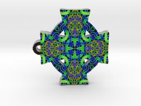 Blue Green Celtic Cross Pendant in Full Color Sandstone