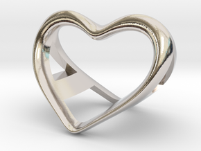 A and a Heart pendant in Rhodium Plated Brass