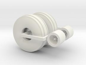 1:64 16.5Lx16.1 3 Rib Tire And Wheel Pair in White Natural Versatile Plastic