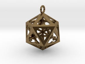 Icosahedron Love pendant in Natural Bronze