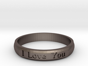 "Ring 'I Love You Inwards' - 16.5cm / 0.65"" - Size  in Polished Bronzed Silver Steel"