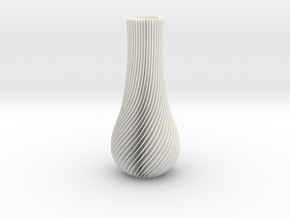 Spiral Vase Deco in White Strong & Flexible Polished
