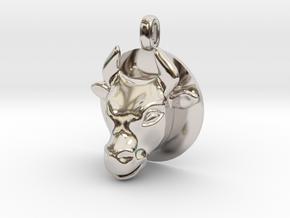 BULL Jewelry Head Design Zodiac Pendant in Rhodium Plated Brass