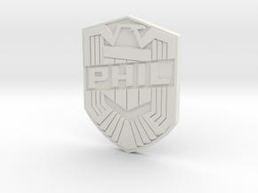 Phil Badge (custom) in White Natural Versatile Plastic