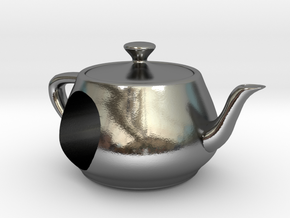 Utah Teapot European Charm Bead in Polished Silver