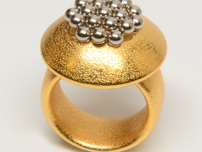 Magnetic Sculpture Ring Size 7 in Matte Gold Steel