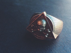 Saint Vitus Ring Size 8 in Polished Bronzed Silver Steel