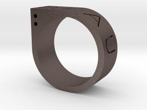 Biau Ring in Polished Bronzed Silver Steel