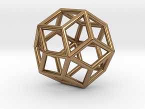 Rhombic Icosahedron Pendant in Natural Brass