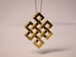 Eternal Knot Pendant in Natural Brass