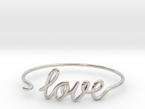 Love Wire Bracelet in Rhodium Plated Brass