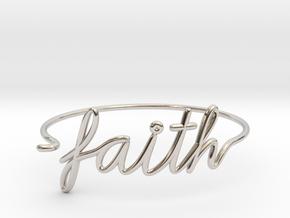 Faith Wire Bracelet in Rhodium Plated Brass