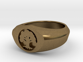 MTG Forest Mana Ring (Size 7) in Natural Bronze