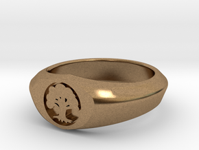 MTG Forest Mana Ring (Size 15 1/2) in Natural Brass
