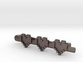 Legend of Zelda: Pixel Heart Tie Clip (skinny tie) in Polished Bronzed Silver Steel