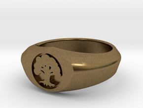 MTG Forest Mana Ring (Size 8) in Natural Bronze