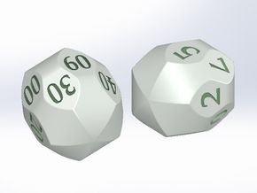"""Two D10 """"Mauritanian"""" dice (digits) in White Natural Versatile Plastic"""