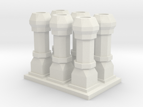Edwardian Chimneys 1 - 4mm in White Strong & Flexible