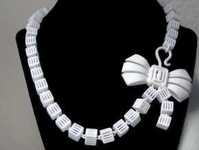 Caged Necklace in White Natural Versatile Plastic