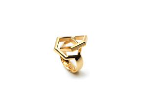 Twin Hexagon Ring in 18k Gold Plated Brass