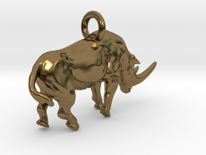 Rhino Charm in Polished Bronze