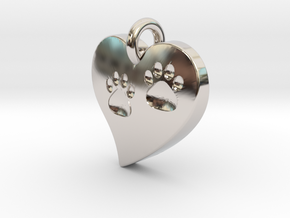 Pet Paw In Heart B in Rhodium Plated Brass