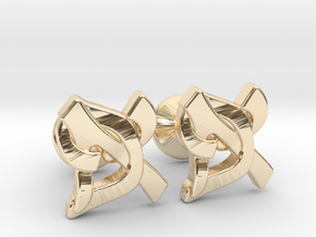 "Hebrew Monogram Cufflinks - ""Aleph Pay"" Small in 14k Gold Plated Brass"