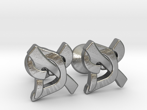 """Hebrew Monogram Cufflinks - """"Aleph Pay"""" Small in Natural Silver"""