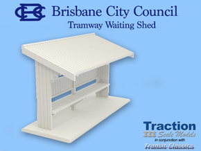 Brisbane Tram Shelter O scale 1:43 in White Strong & Flexible